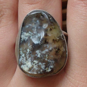 MCM Brutalist Moss Agate & Silver Ring Men's 10.75